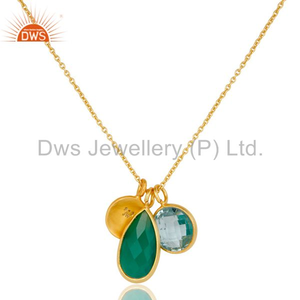 Wholesalers 18K Gold Plated Sterling Silver Bezel Set Blue Topaz & Onyx Pendant With Chain