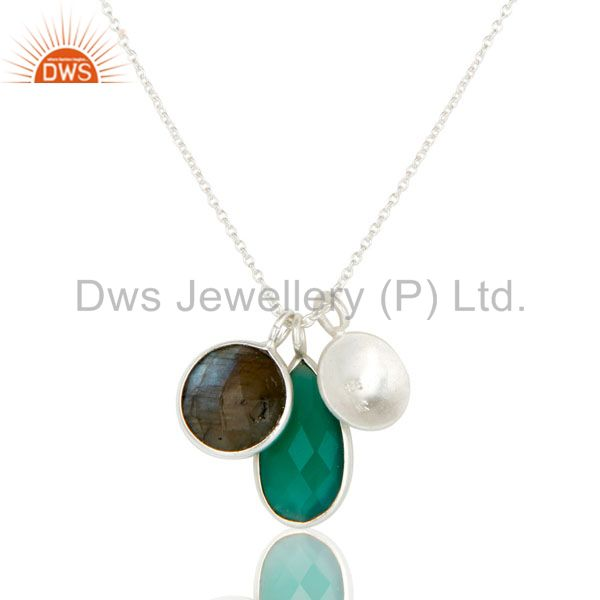 Suppliers 925 Sterling Silver Green Onyx And Labradorite Bezel Set Pendant With Chain