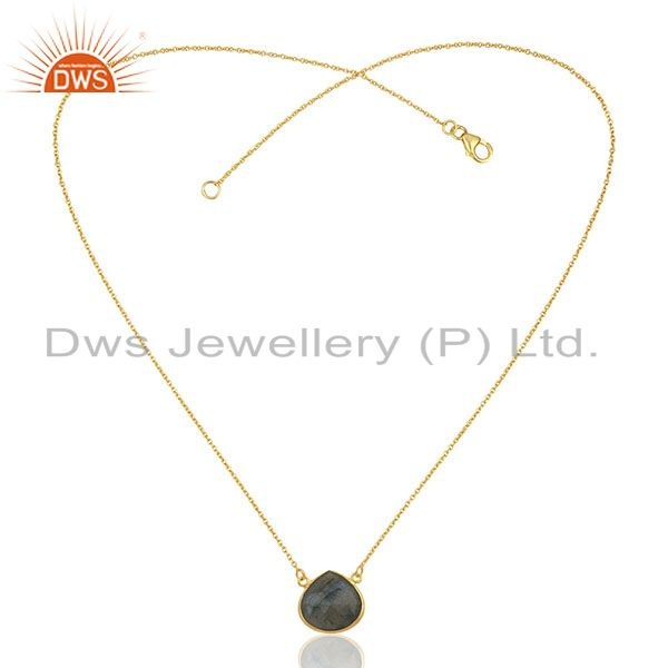 Exporter 18K Yellow Gold Plated Sterling Silver Labradorite Gemstone Pendant With Chain