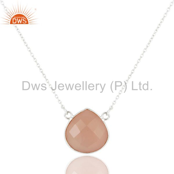 Suppliers Solid Sterling Silver Dyed Chalcedony Faceted Gemstone Chain Pendant Necklace