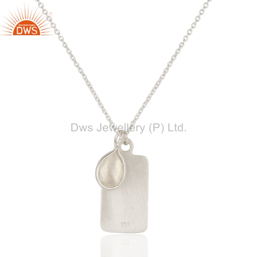 Exporter Handmade Sterling Silver Crystal Quartz And Peace Sign Charms Pendant Necklace