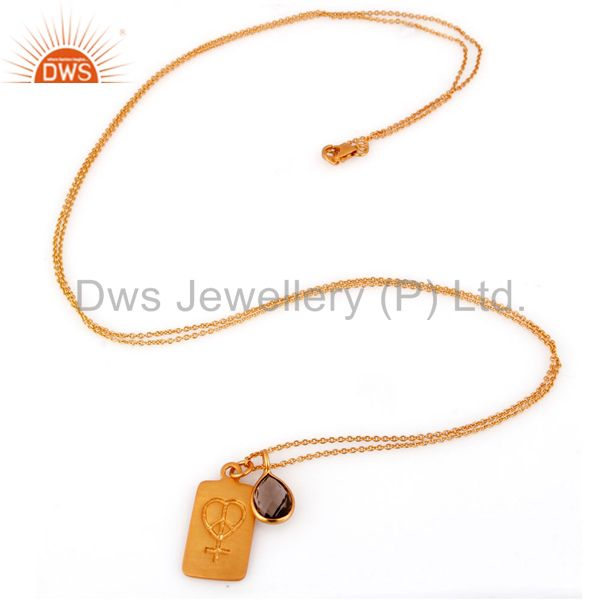 Exporter 18K Yellow Gold Plated Sterling Silver Smoky Quartz Pendant Bezel With Chain