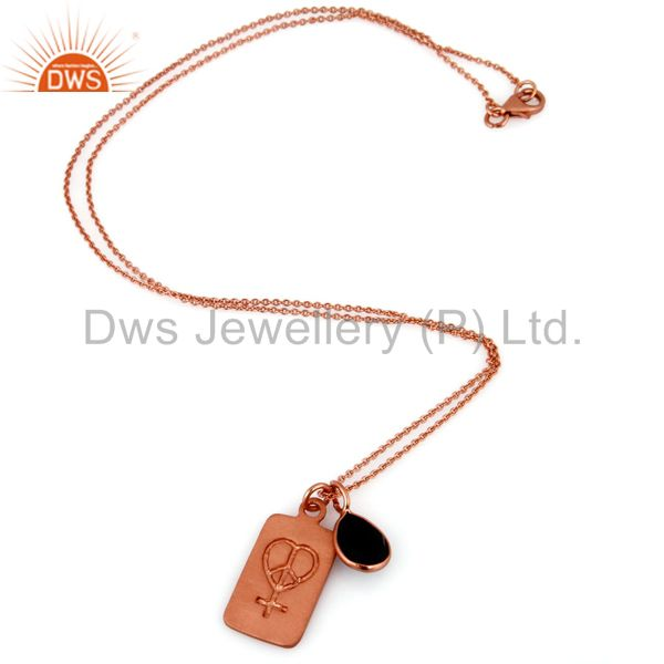 Exporter 18K Rose Gold Plated Sterling Silver Black Onyx Bezel Set Pendant With Chain