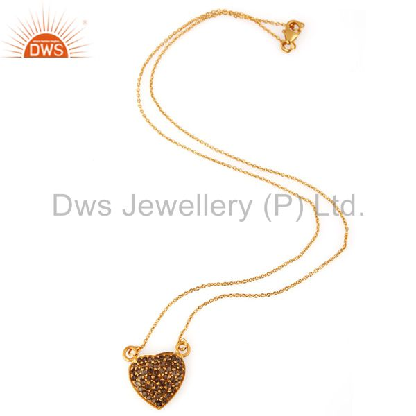 Exporter Smoky Quartz Gemstone 18K Gold Plated Silver Heart Pendant With 16