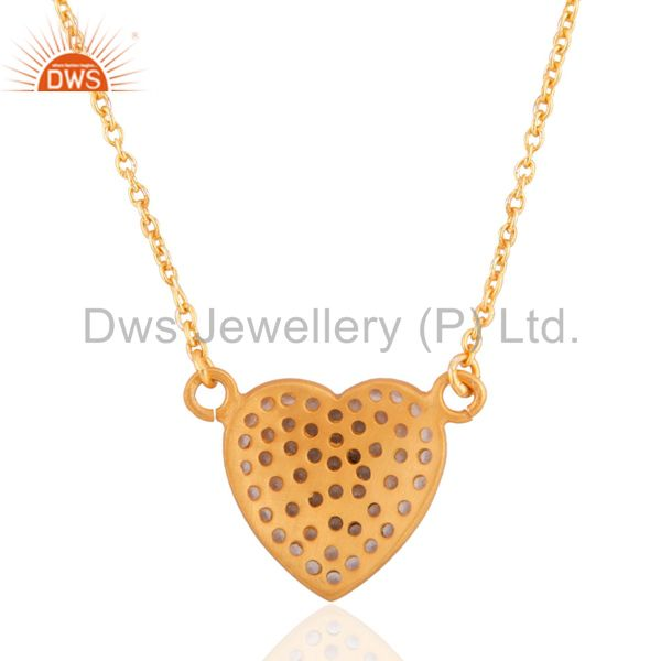 Suppliers 18K Gold Over Sterling Silver White Topaz Heart Symbol Pendant With Chain