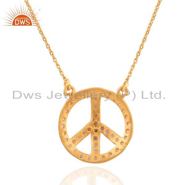 Suppliers 14K Gold Plated Sterling Silver White Topaz Peace-Sign Pendant Necklace