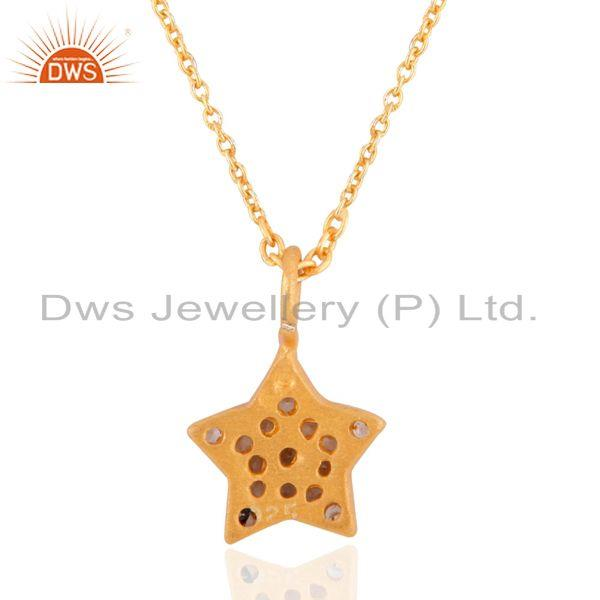 Suppliers Star Symbol Sterling Silver 925 24k Yellow Gold Plated Charm Pendant 16