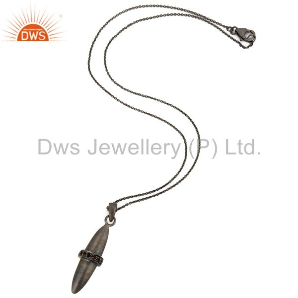 Suppliers Black Rhodium Plated Sterling Silver Smoky Quartz Bullet Pendant With Chain