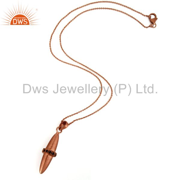 Suppliers 18K Rose Gold Over Sterling Silver Smoky Quartz Bullet Charm Pendant With Chain