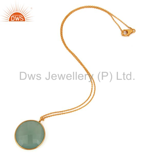 Exporter 18K Gold Over Silver Faceted Green Chalcedony Gemstone Bezel Pendant With Chain