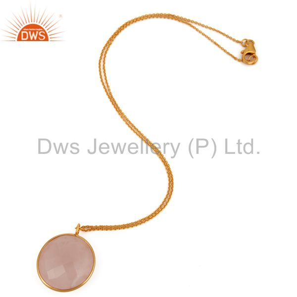 Suppliers Faceted Rose Chalcedony Bezel Set Pendant 18K Gold Over Sterling Silver