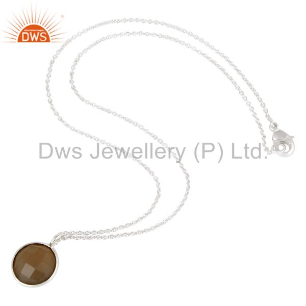 Suppliers Solid Silver Plated Dyed Faceted Chalcedony Bezel Set Brass Chain Pendant