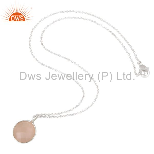 Suppliers Dyed Chalcedony Round Cut Brass Chain Pendant Necklace With Solid Silver Plated