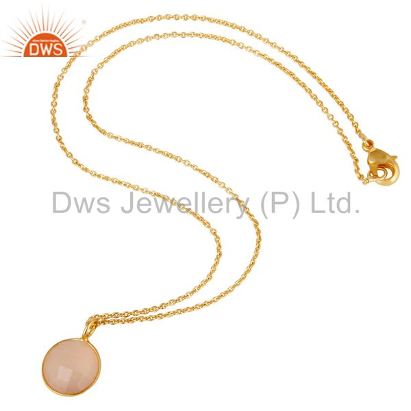 Suppliers Dyed Chalcedony Round Cut Chain Pendant Necklace With 18K Yellow Gold Plated