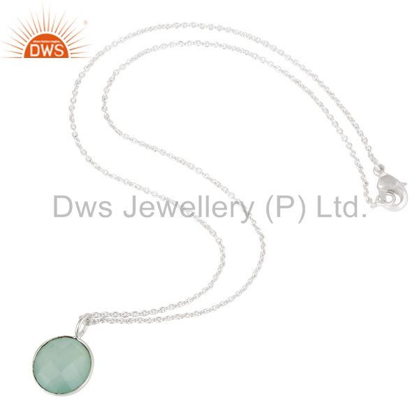Suppliers Solid Silver Plated Faceted Dyed Blue Chalcedony Bezel-Set Brass Chain Pendant