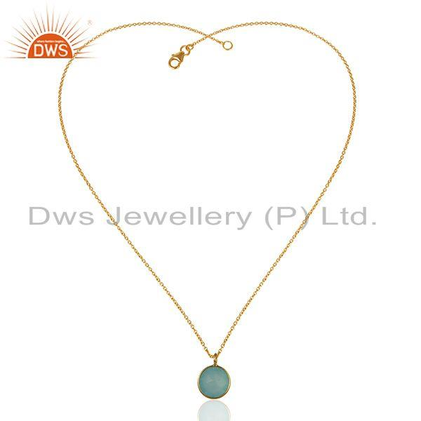 Exporter Gold Plated 925 Sterling Silver Aqua Chalcedony Gemstone Pendant