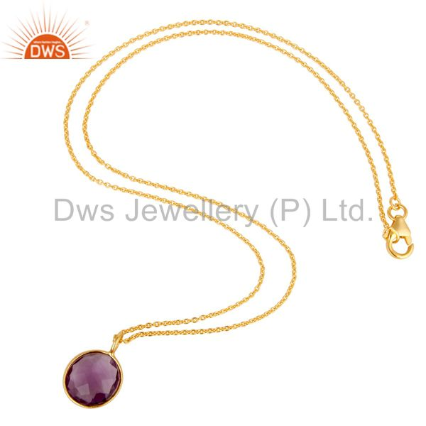 Suppliers 18k Yellow Gold Plated Sterling Silver Round Set Amethyst Pendant Chain Necklace