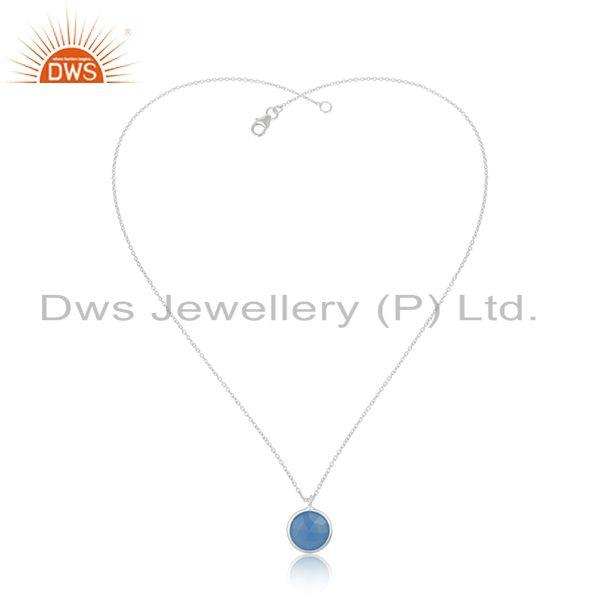 Exporter Blue Chalcedony GEmstone 925 Sterling Silver Chain Pendant Wholesaler INdia