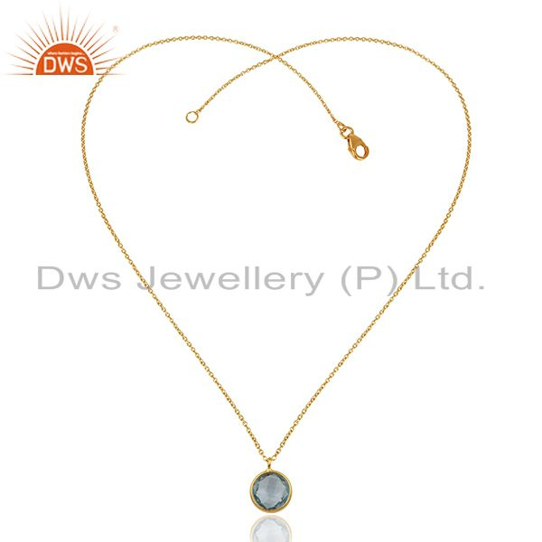 Exporter Blue Topaz Gold Plated 925 Silver Chain Gemstone Pendant Wholesale