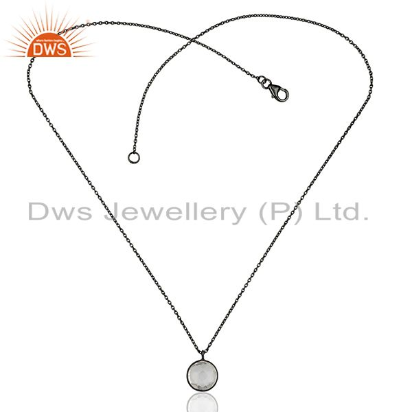 Exporter Black Rhodium Plated 925 Silver Crystal Pendant manufacturers