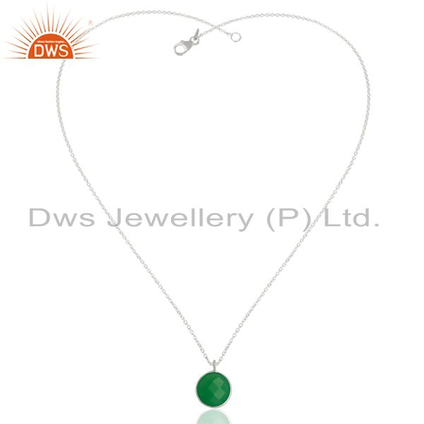 Exporter Green Chalcedony Bezel Set 925 Sterling Silver Chain Pendant Gemstone Jewellery