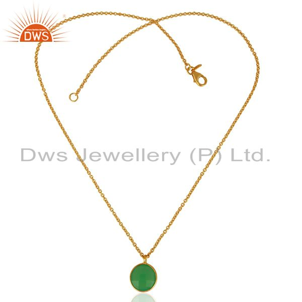 Exporter Green Chalcedony Bezel Set 925 Sterling Silver 18K Gold Plated Chain Pendant