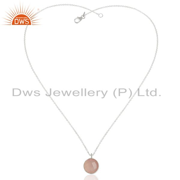Exporter Rose Chalcedony Bezel Set Sterling Silver Pendant Semi-precious Stones Jewellery