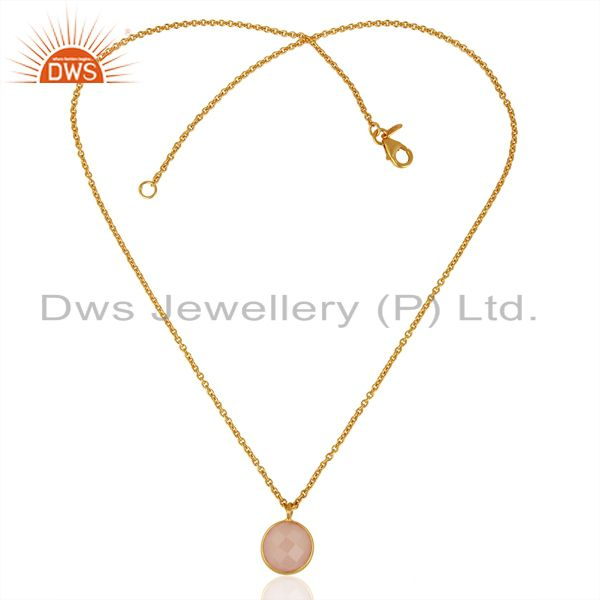 Exporter Rose Chalcedony Round Bezel Set Sterling Silver 18K Gold Plated Chain Pendant