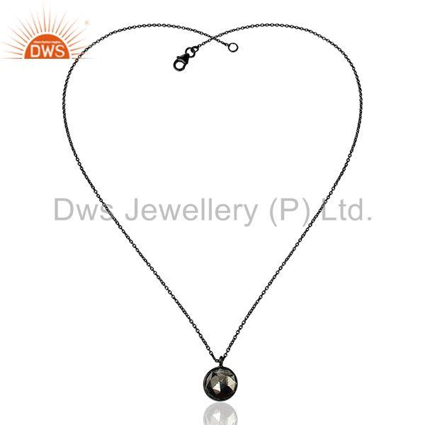 Exporter Black Rhodium Plated Silver Pyrite Gemstone Womens Chain Necklace