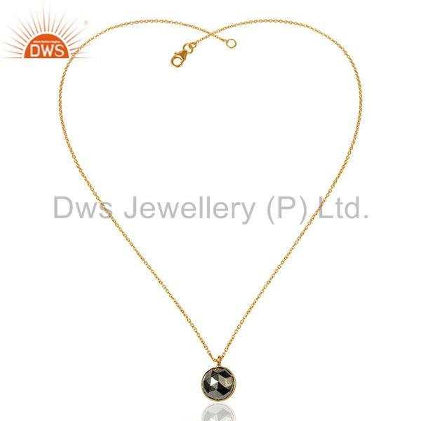 Exporter Pyrite Gemstone Gold Plated 925 Silver Chain Pendnat Jewelry Supplier
