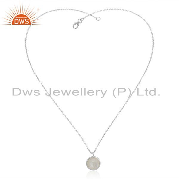 Exporter Natural Rainbow Moonstone Fine Sterling Silver Chain Pendant Wholesale