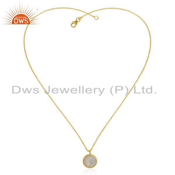 Exporter Gold Plated 925 Silver Natural Rainbow Moonstone Chain Pendant Manufacturer