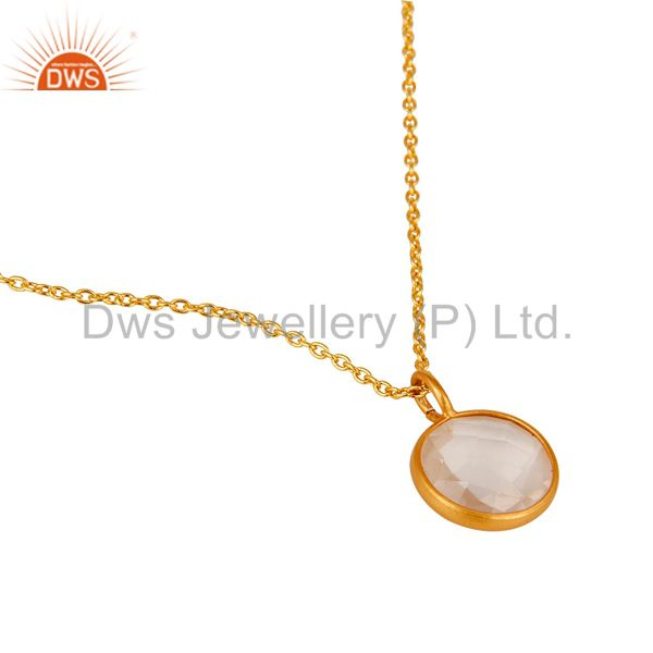 Wholesalers Rose Quartz 14K Yellow Gold Plated 925 Sterling Silver Chain Pendant Jewelry