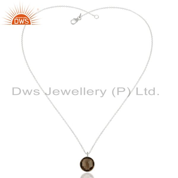 Exporter Smoky Quartz Sterling Fine Silver Chain Pendant Jewelry Manufacturer