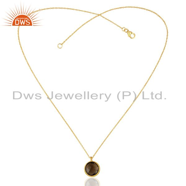Exporter 14K Yellow Gold Plated 925 Sterling Silver Smokey Topaz Bezel Set Chain Pendant