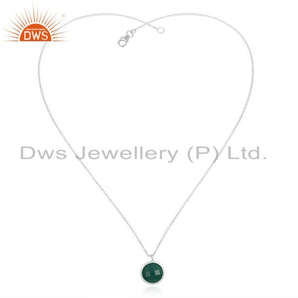 Exporter Handmade 92.5 Sterling Silver Green Onyx Gemstone Pendant With Chain Wholesale