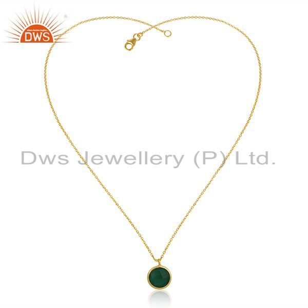 Exporter 14k Gold Plated Sterling Silver Chain Green Onyx Gemstone Pendant Manufacturer