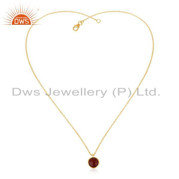 Exporter Red Onyx Gemstone 925 Silver Handmade Gold Plated Girls Pendant Jewelry