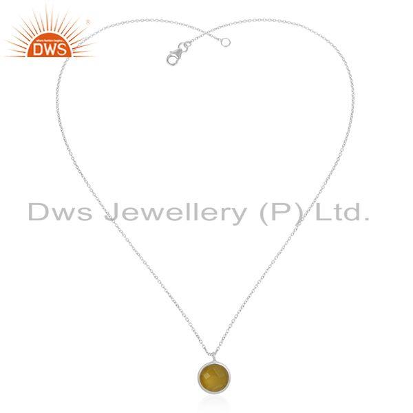 Exporter Yellow Chalcedony Gemstone Fine 925 Silver Chain Pendant Manufacturer India