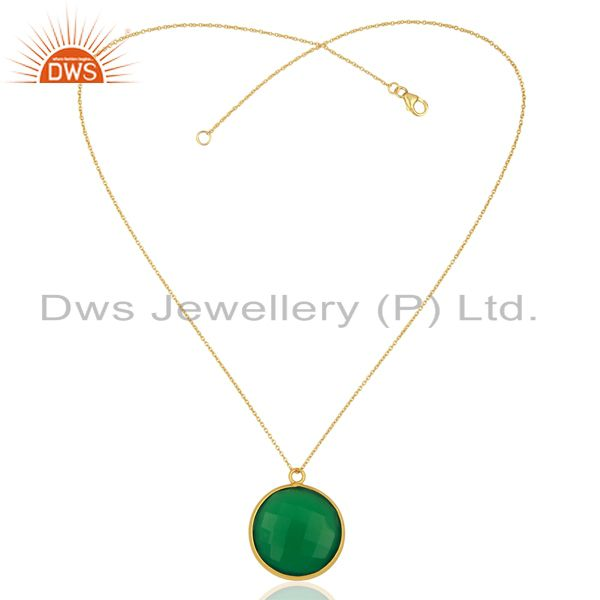 Exporter 18K Yellow Gold Plated Sterling Silver Green Onyx Bezel Set Pendant With Chain