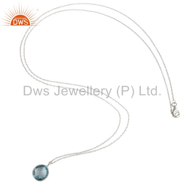 Exporter 925 Sterling Silver Blue Topaz Gemstone Bezel Set Pendant With Chain Necklace