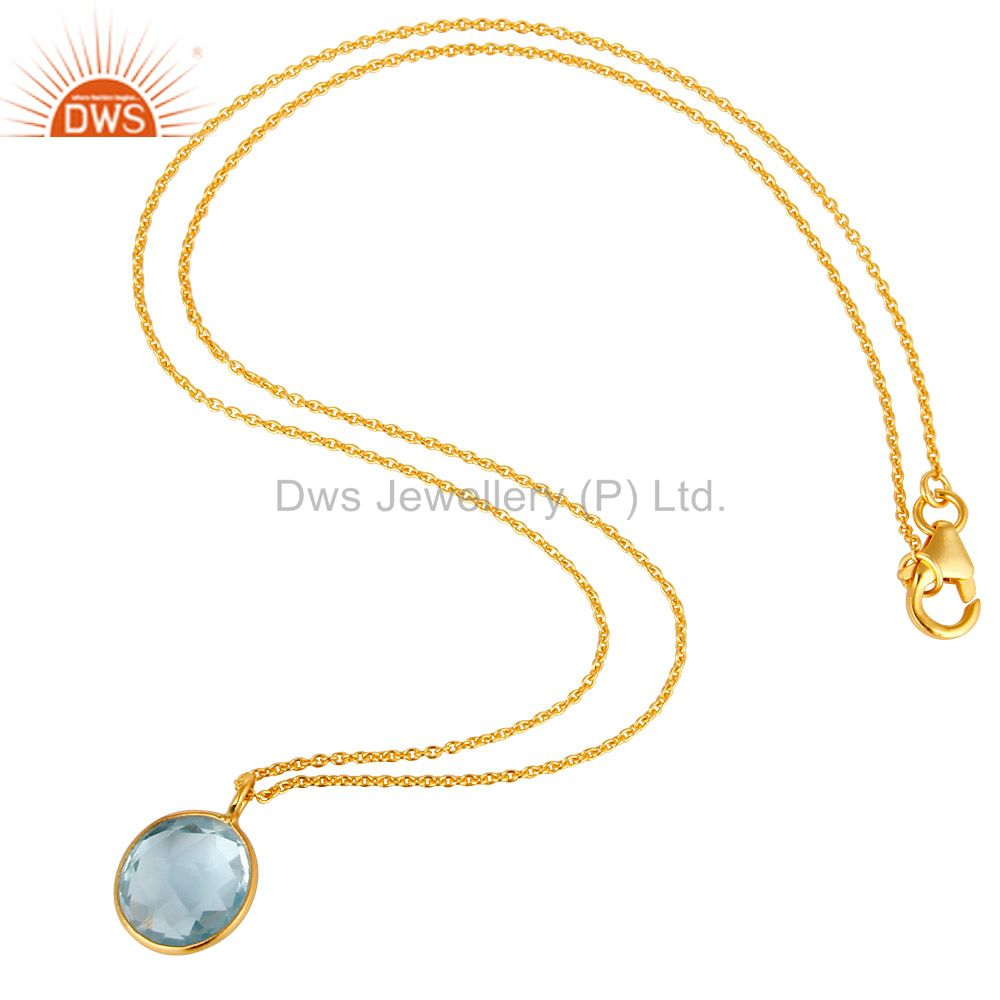 Exporter 14K Yellow Gold Plated Sterling Silver Blue Topaz Bezel Set Pendant With Chain