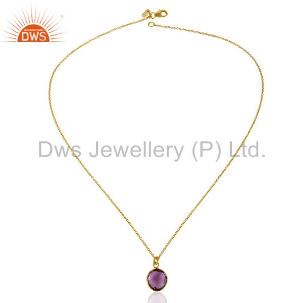 Exporter 14K Gold Plated 925 Sterling Silver Round Amethyst Bezel Set Chain Pendant