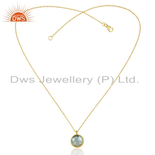 Exporter Gold Plated Blue Topaz Gemstone Gold Plated Silver Pendant Jewelry