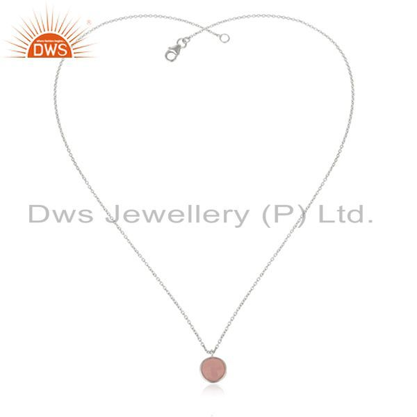 Exporter 925 Sterling Silver Rose Chalcedony Gemstone Bezel Set Pendant With Chain