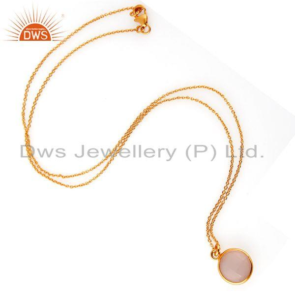 Suppliers 18K Gold Plated Sterling Silver Rose Chalcedony Bezel Set Pendant With Chain