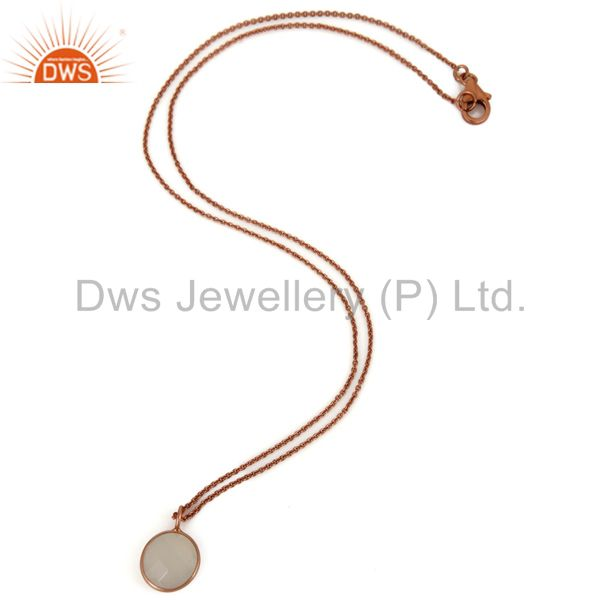 Exporter 18K Rose Gold Plated Sterling Silver White Chalcedony Bezel Pendant With Chain