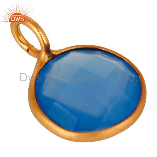 Suppliers 18K Yellow Gold Plated Sterling Silver Blue Chalcedony Bezel Set Pendant