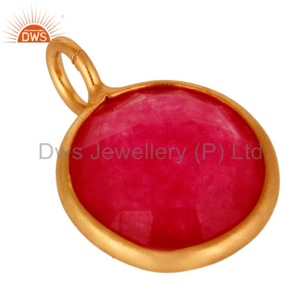 Wholesale 18K Yellow Gold Plated Sterling Silver Red Aventurine Bezel Set Pendant In India