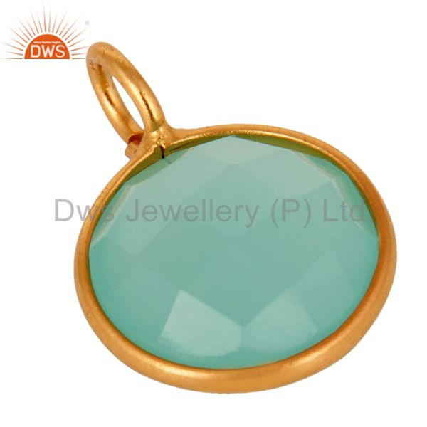 Suppliers 18K Yellow Gold Plated Sterling Silver Aqua Blue Chalcedony Bezel Set Pendant